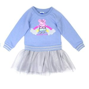 Toddler Long Sleeve PEPPA PIG Tutu Dress NWT